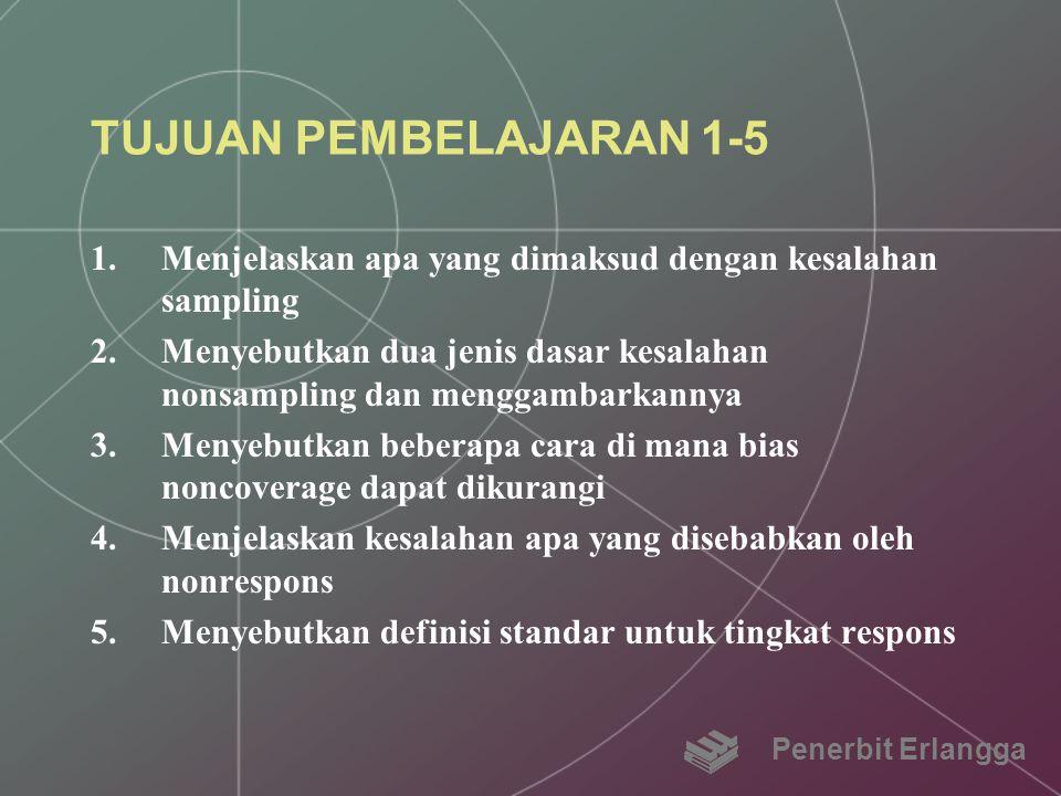 TUJUAN PEMBELAJARAN 1-5 Menjelaskan apa yang dimaksud dengan kesalahan sampling.