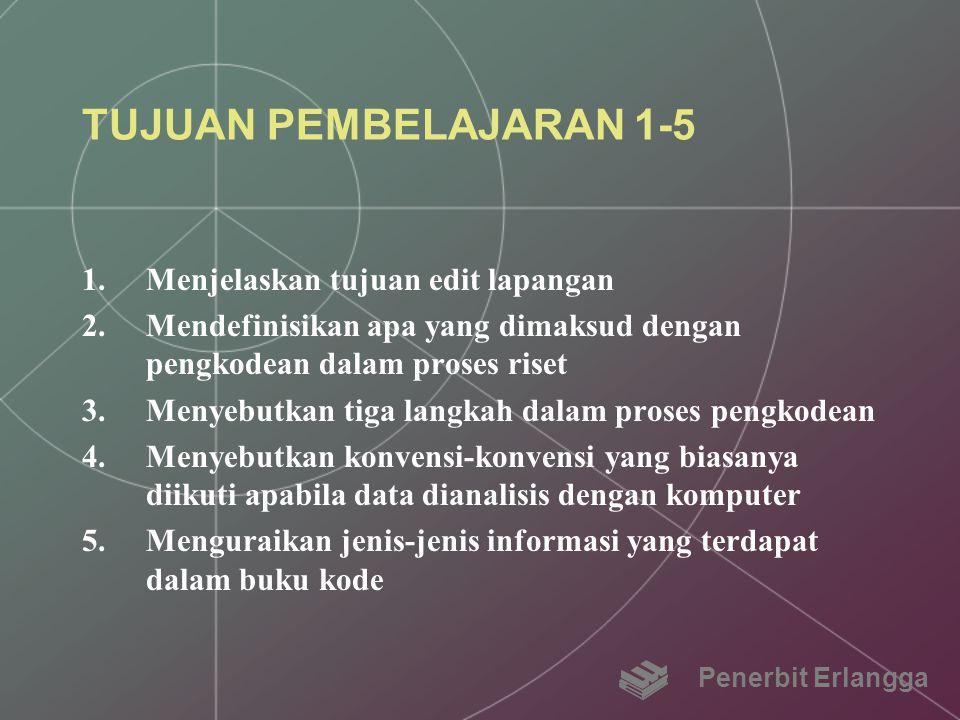 TUJUAN PEMBELAJARAN 1-5 Menjelaskan tujuan edit lapangan