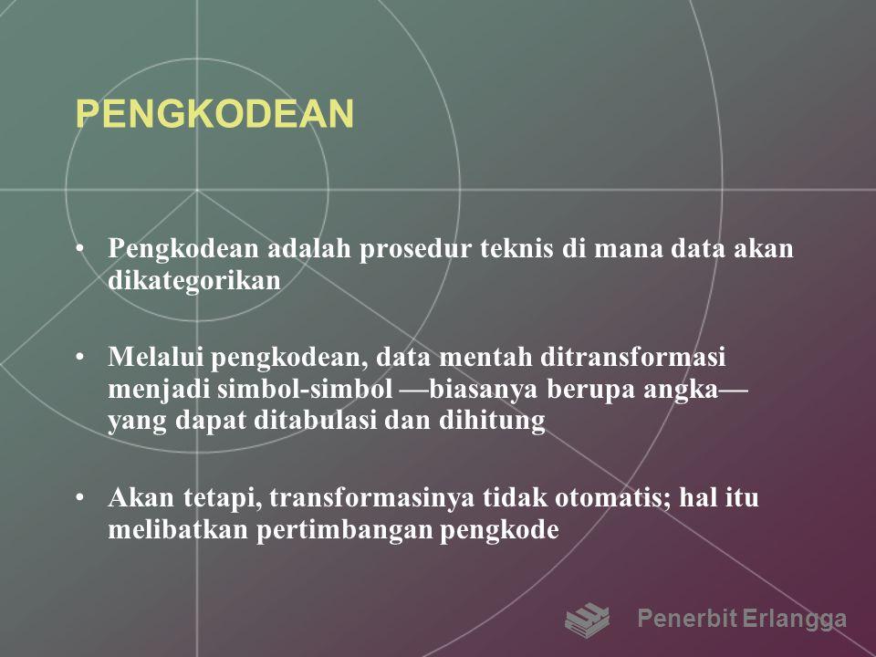 PENGKODEAN Pengkodean adalah prosedur teknis di mana data akan dikategorikan.