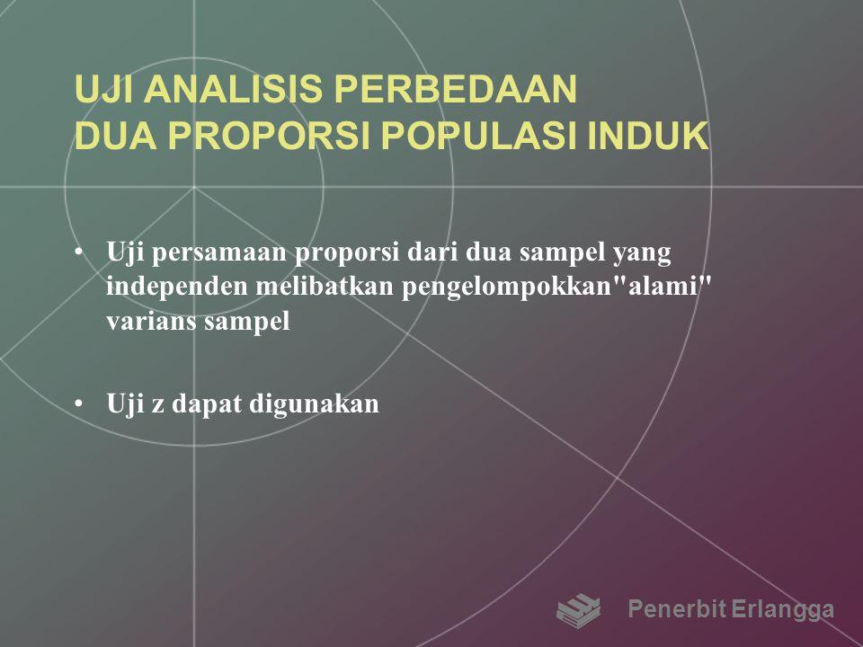 UJI ANALISIS PERBEDAAN DUA PROPORSI POPULASI INDUK