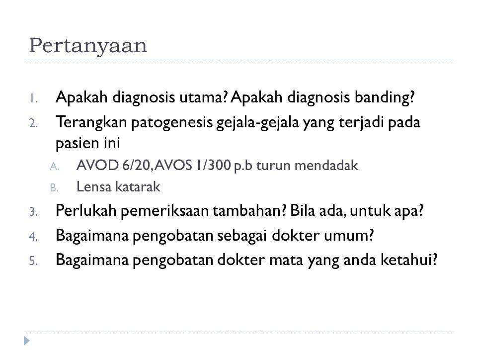 Pertanyaan Apakah diagnosis utama Apakah diagnosis banding