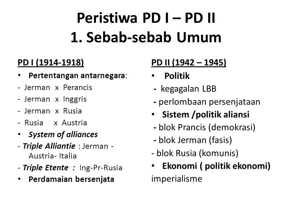 Peristiwa PD I – PD II 1. Sebab-sebab Umum