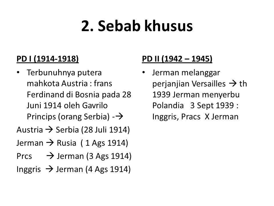 2. Sebab khusus PD I (1914-1918) PD II (1942 – 1945)