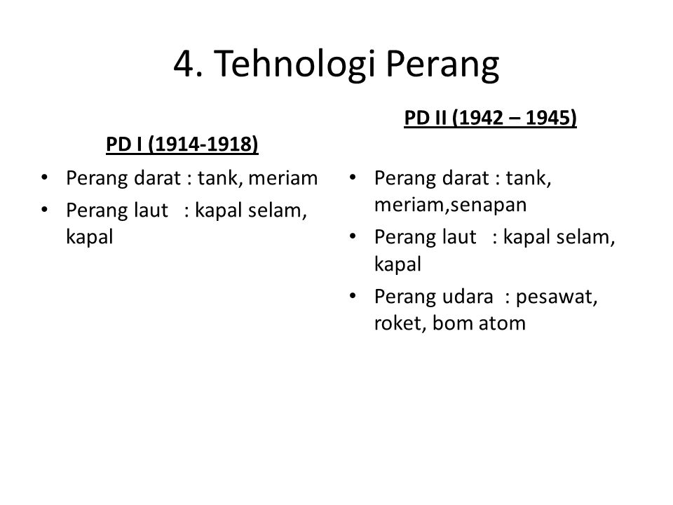 4. Tehnologi Perang PD I (1914-1918) PD II (1942 – 1945)