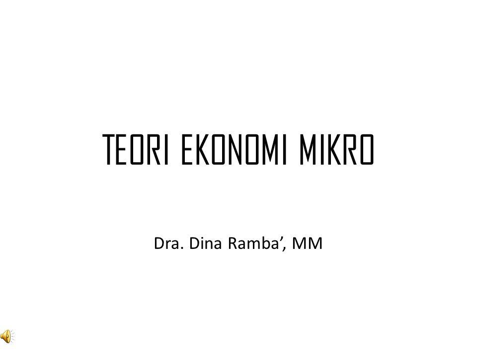 TEORI EKONOMI MIKRO Dra. Dina Ramba', MM