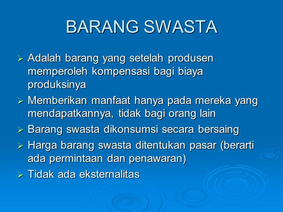 BARANG SWASTA Adalah barang yang setelah produsen memperoleh kompensasi bagi biaya produksinya.