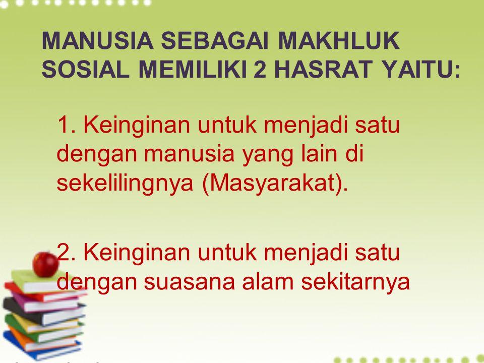 MANUSIA SEBAGAI MAKHLUK SOSIAL MEMILIKI 2 HASRAT YAITU: