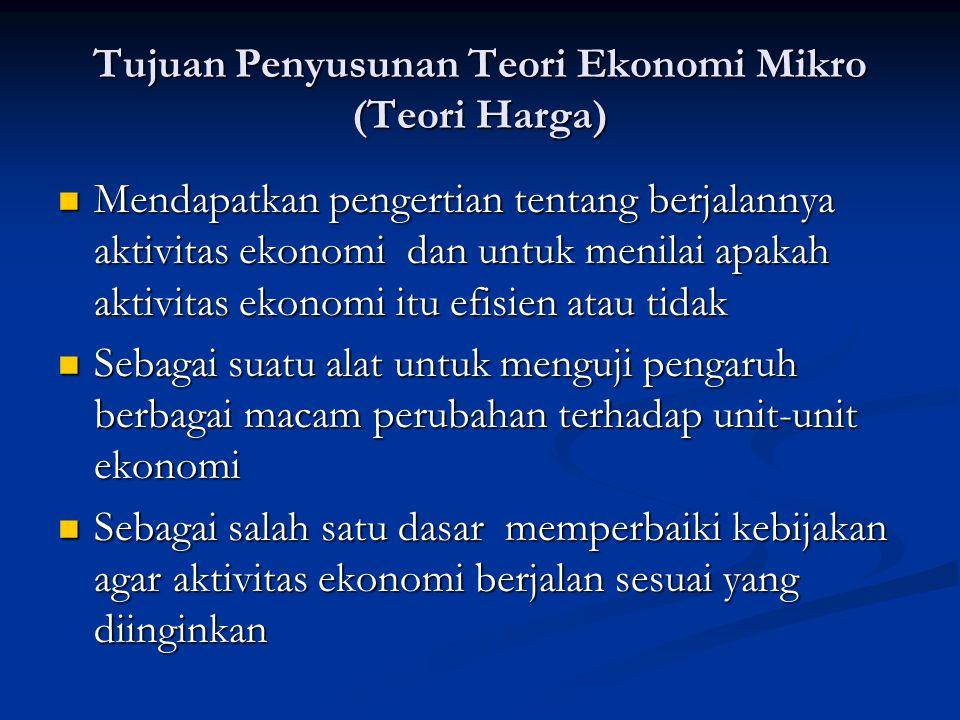Tujuan Penyusunan Teori Ekonomi Mikro (Teori Harga)