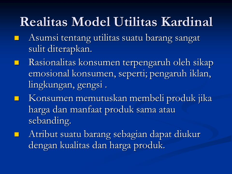 Realitas Model Utilitas Kardinal