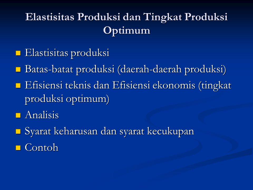Elastisitas Produksi dan Tingkat Produksi Optimum