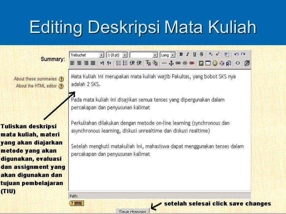 Editing Deskripsi Mata Kuliah