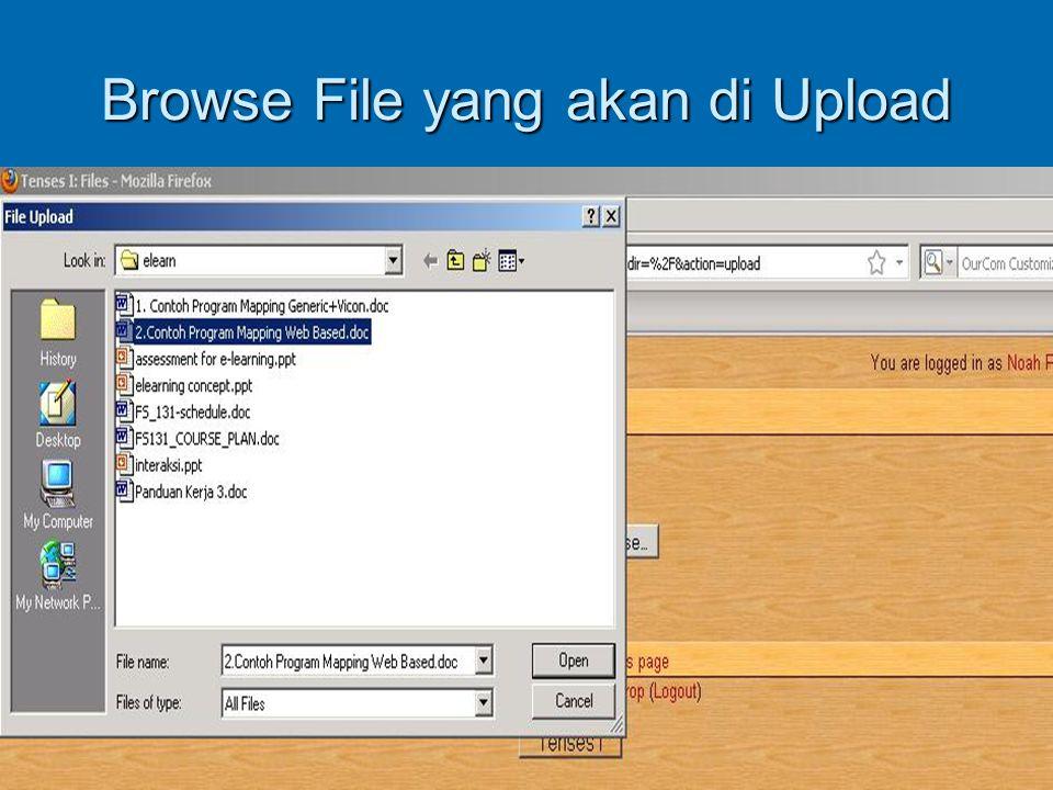 Browse File yang akan di Upload
