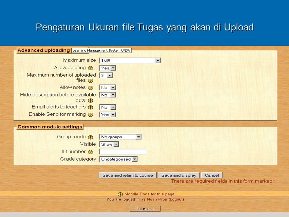 Pengaturan Ukuran file Tugas yang akan di Upload
