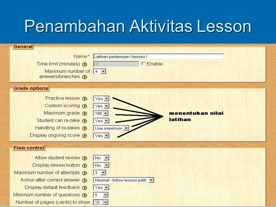 Penambahan Aktivitas Lesson