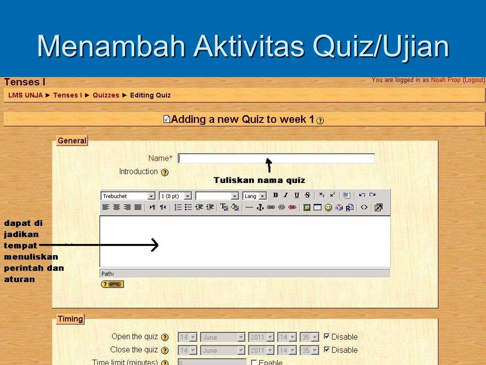 Menambah Aktivitas Quiz/Ujian