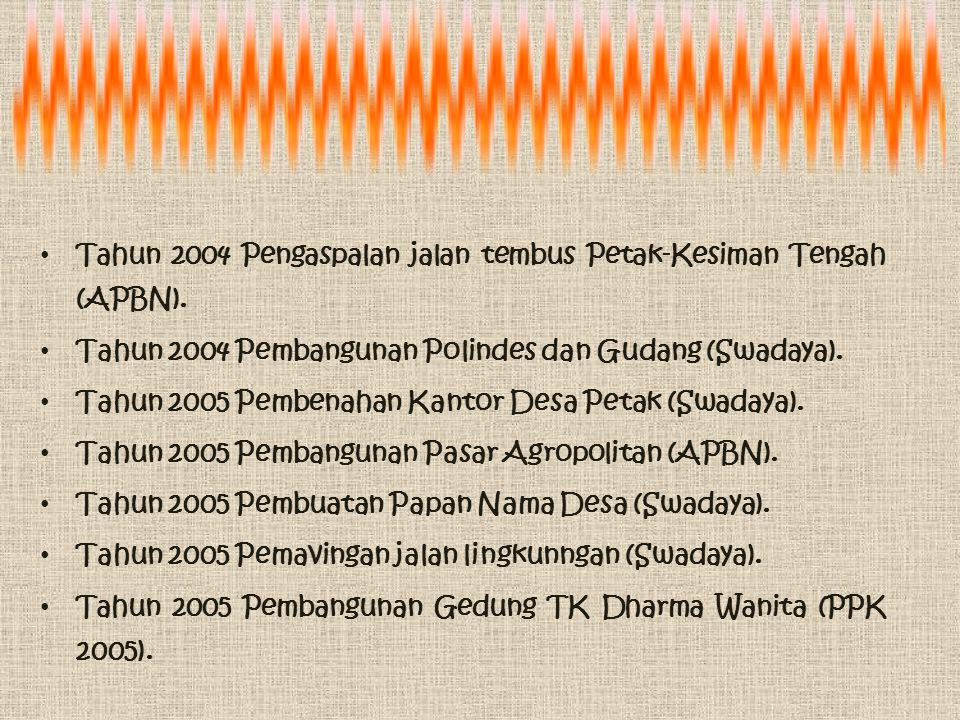 Tahun 2004 Pengaspalan jalan tembus Petak-Kesiman Tengah (APBN).