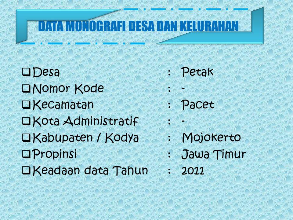 DATA MONOGRAFI DESA DAN KELURAHAN