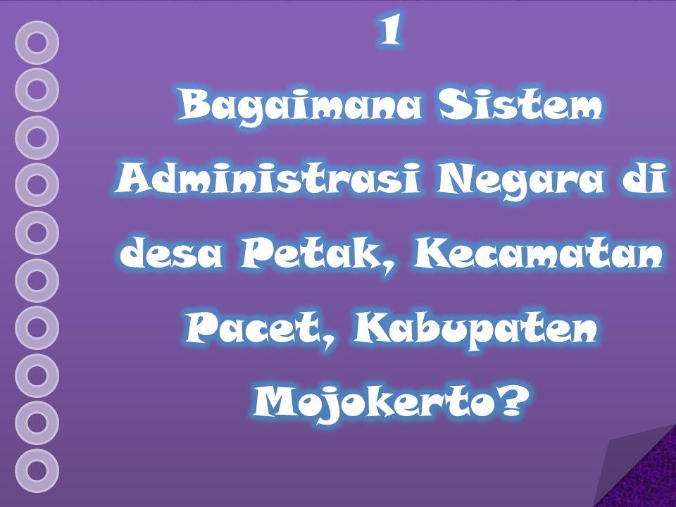 1 Bagaimana Sistem Administrasi Negara di desa Petak, Kecamatan Pacet, Kabupaten Mojokerto