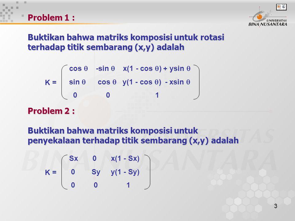 Problem 1 : Buktikan bahwa matriks komposisi untuk rotasi terhadap titik sembarang (x,y) adalah