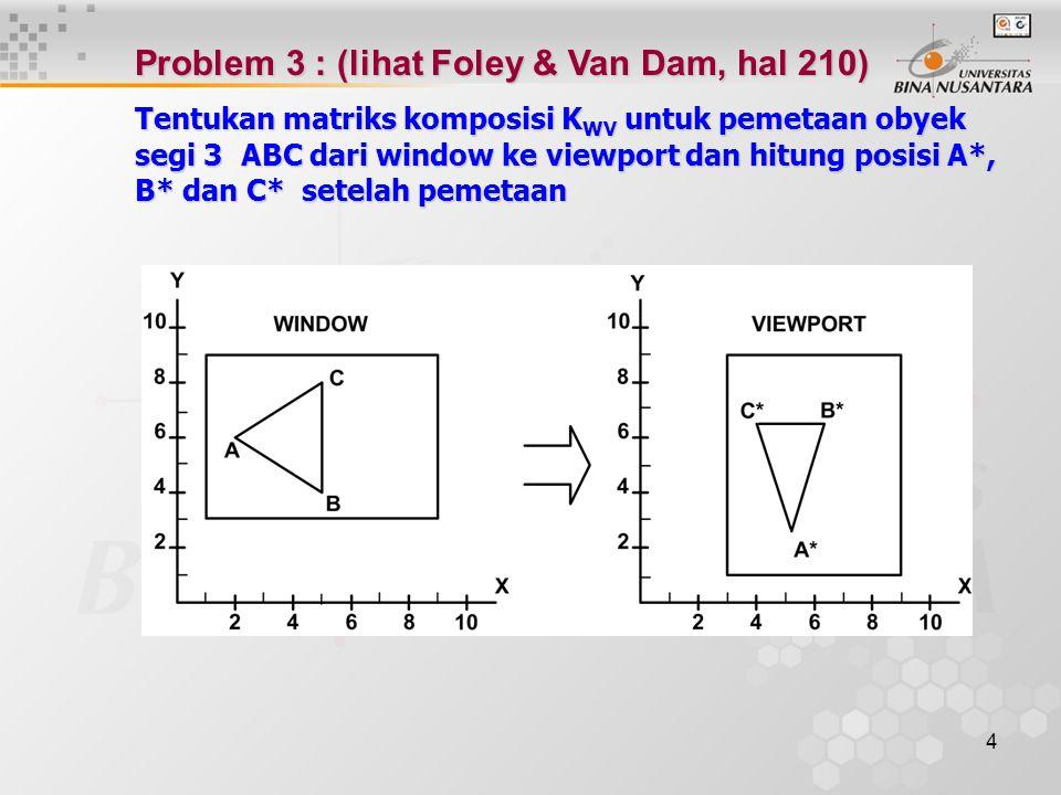 Problem 3 : (lihat Foley & Van Dam, hal 210)