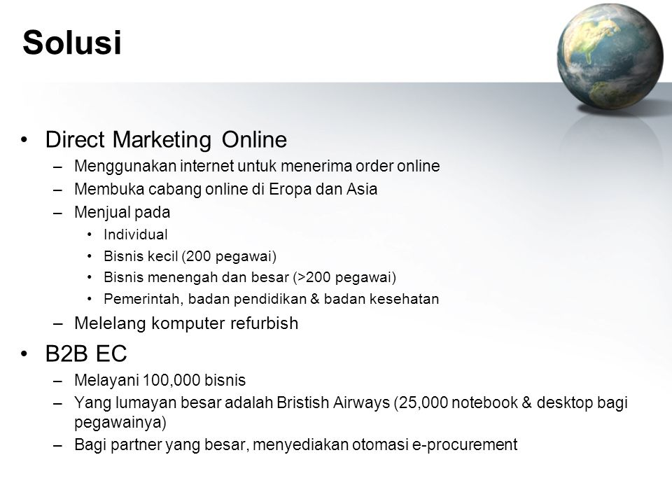Solusi Direct Marketing Online B2B EC Melelang komputer refurbish