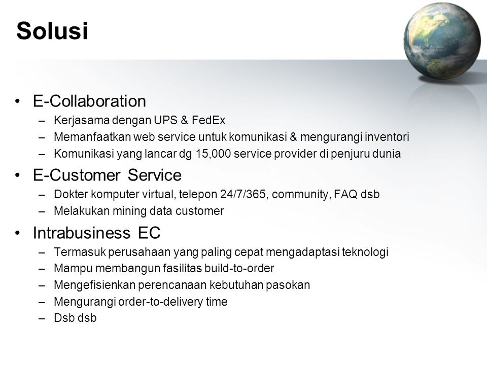 Solusi E-Collaboration E-Customer Service Intrabusiness EC