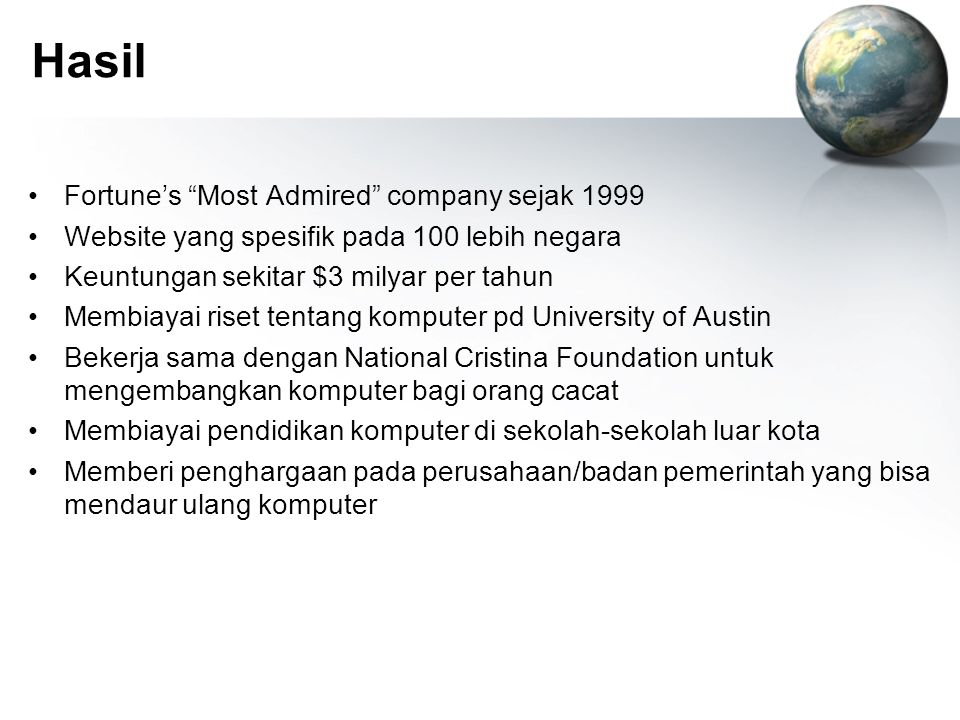 Hasil Fortune's Most Admired company sejak 1999