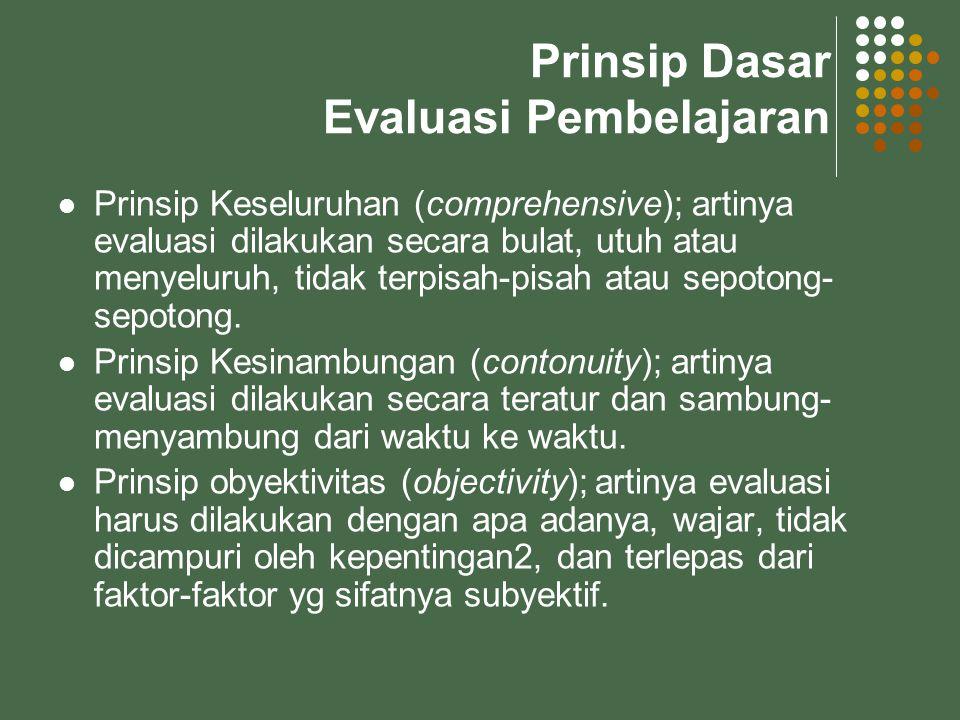Prinsip Dasar Evaluasi Pembelajaran