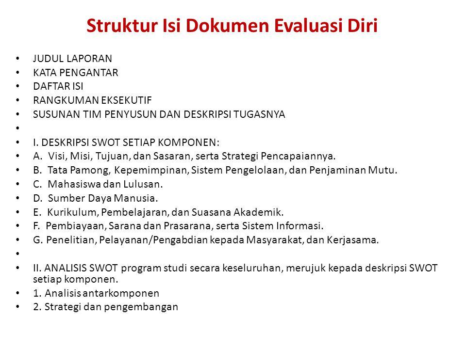 Struktur Isi Dokumen Evaluasi Diri