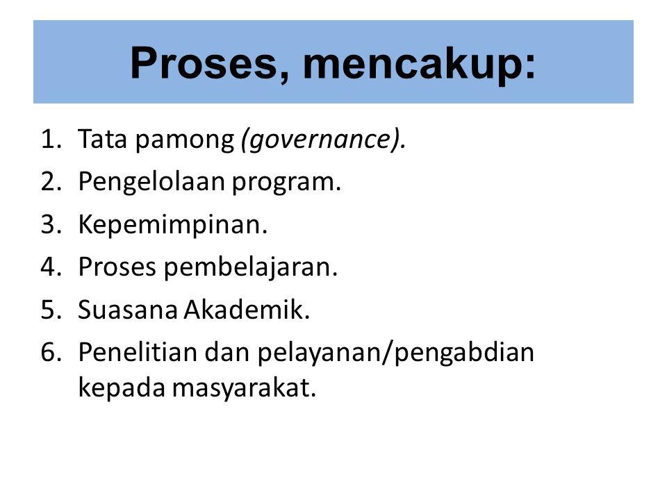 Proses, mencakup: Tata pamong (governance). Pengelolaan program.
