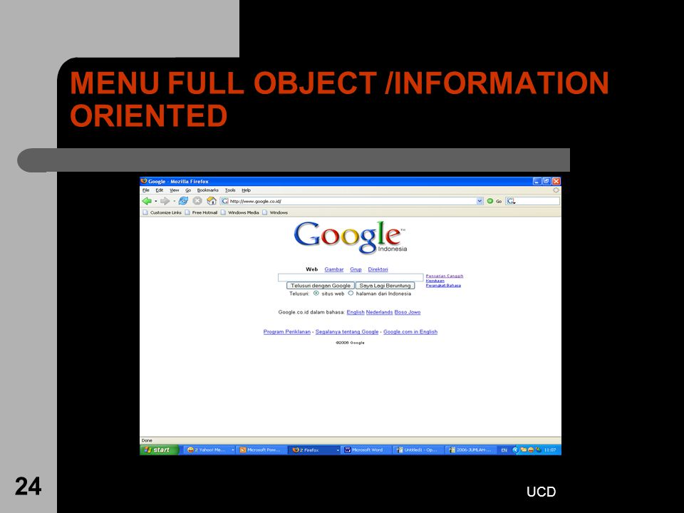 MENU FULL OBJECT /INFORMATION ORIENTED