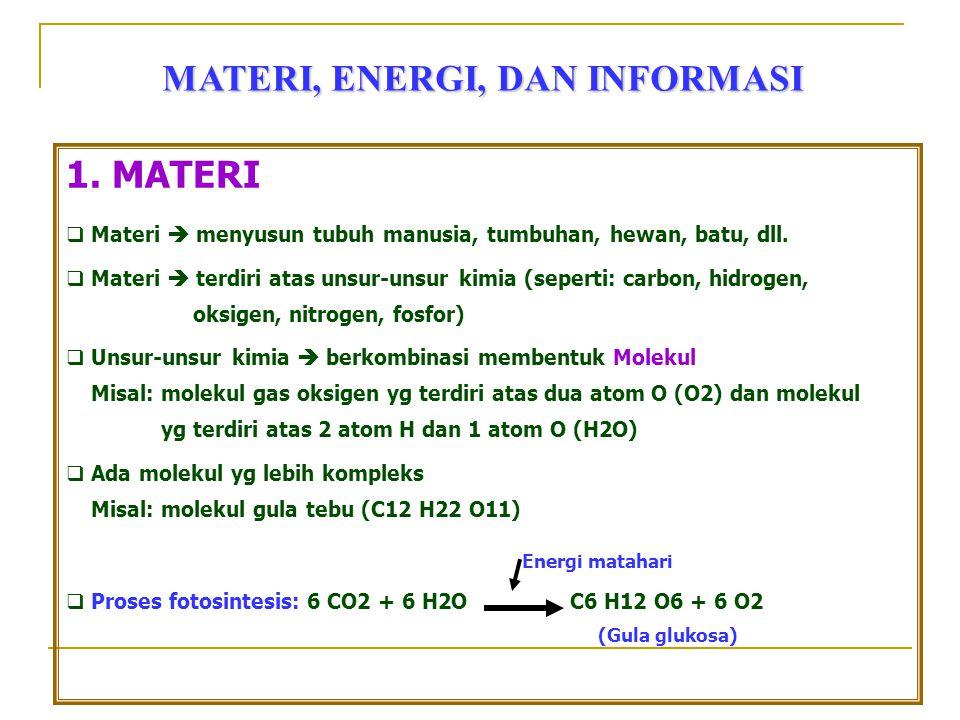 MATERI, ENERGI, DAN INFORMASI