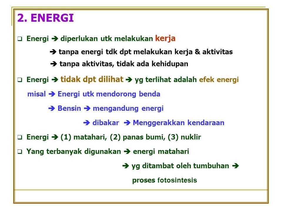 2. ENERGI  tanpa energi tdk dpt melakukan kerja & aktivitas