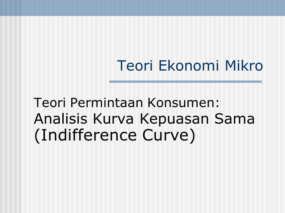 Teori Ekonomi Mikro Teori Permintaan Konsumen: Analisis Kurva Kepuasan Sama (Indifference Curve)