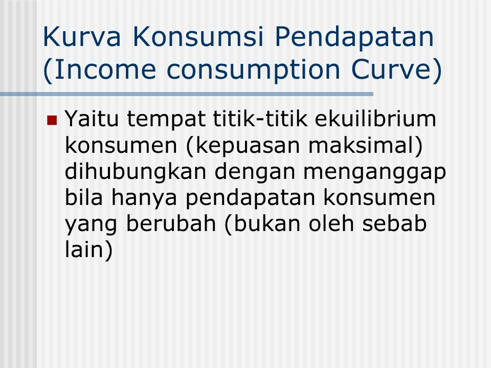 Kurva Konsumsi Pendapatan (Income consumption Curve)