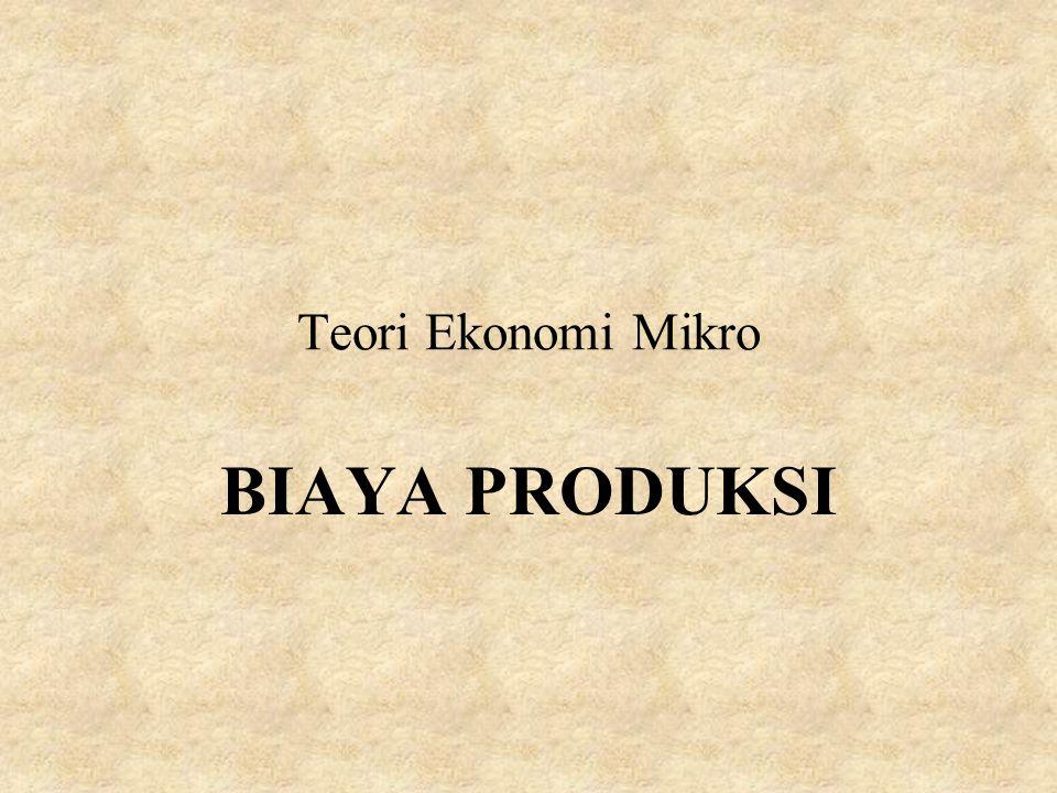 Teori Ekonomi Mikro BIAYA PRODUKSI