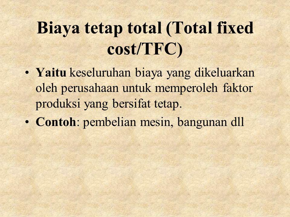 Biaya tetap total (Total fixed cost/TFC)