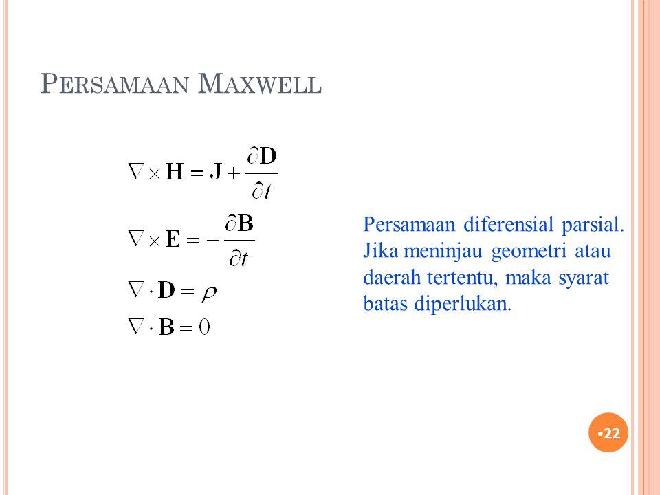 Persamaan Maxwell Persamaan diferensial parsial.