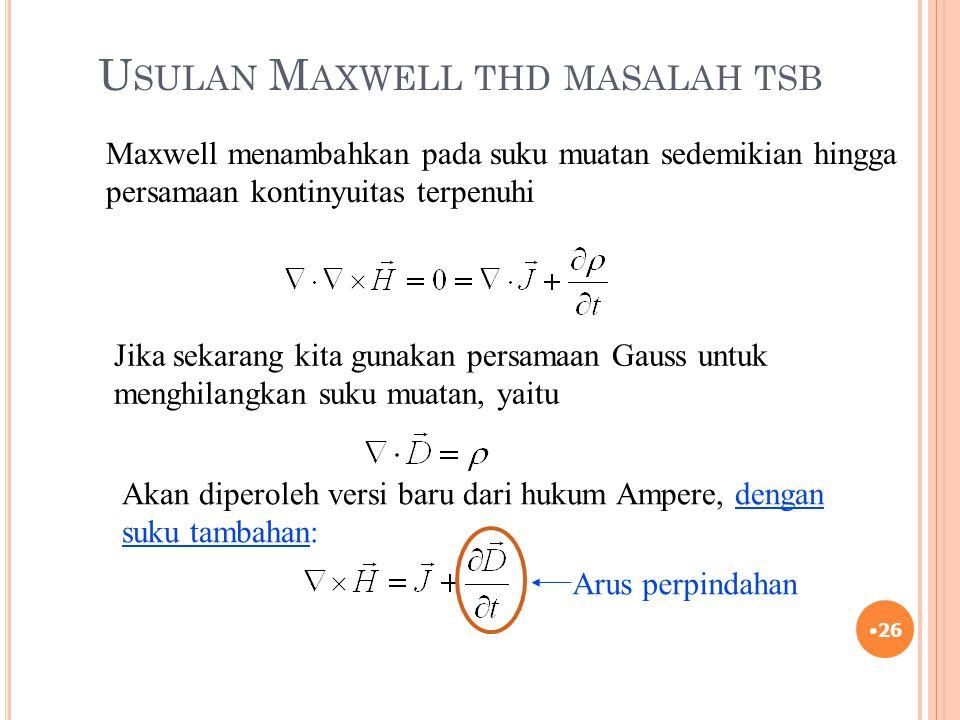 Usulan Maxwell thd masalah tsb