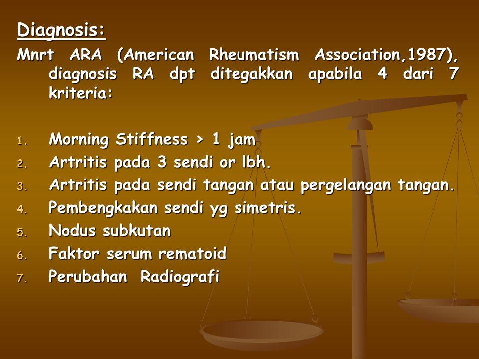 Diagnosis: Mnrt ARA (American Rheumatism Association,1987), diagnosis RA dpt ditegakkan apabila 4 dari 7 kriteria: