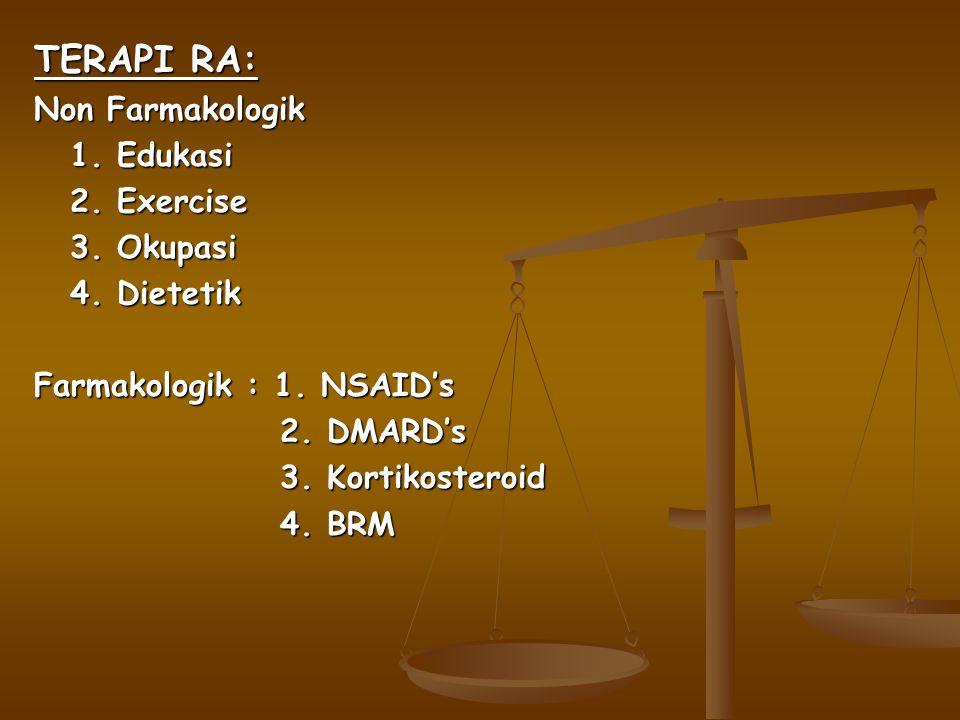 TERAPI RA: Non Farmakologik 1. Edukasi 2. Exercise 3. Okupasi