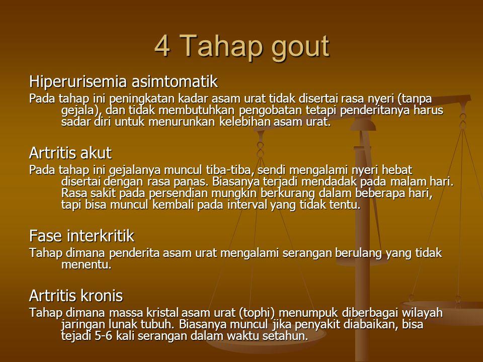 4 Tahap gout Hiperurisemia asimtomatik Artritis akut Fase interkritik