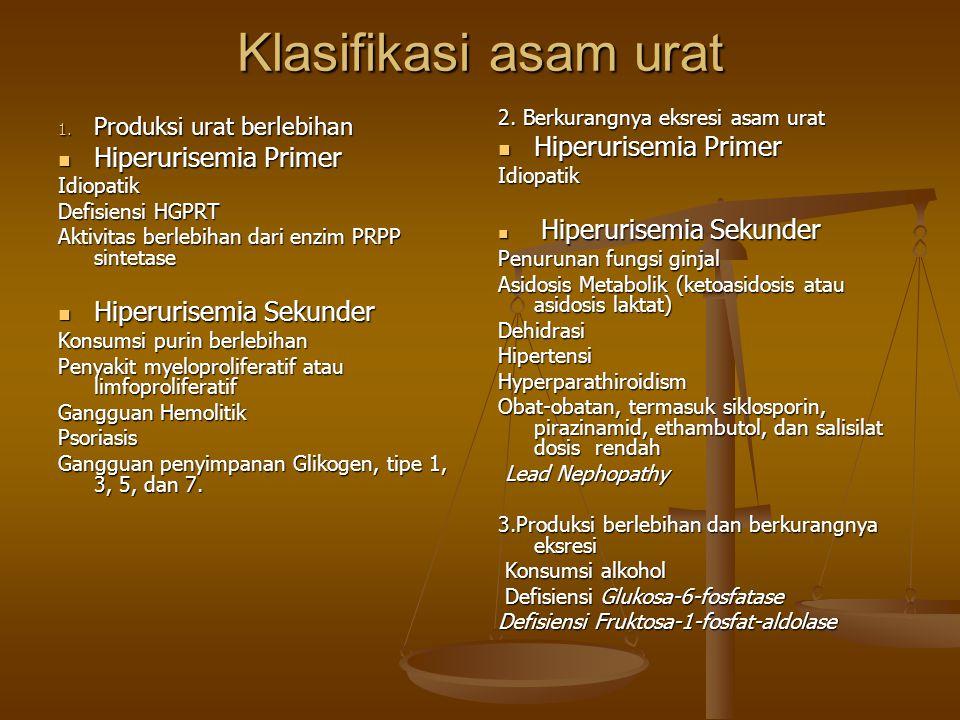 Klasifikasi asam urat Hiperurisemia Primer Hiperurisemia Primer