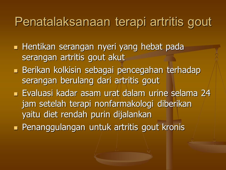 Penatalaksanaan terapi artritis gout