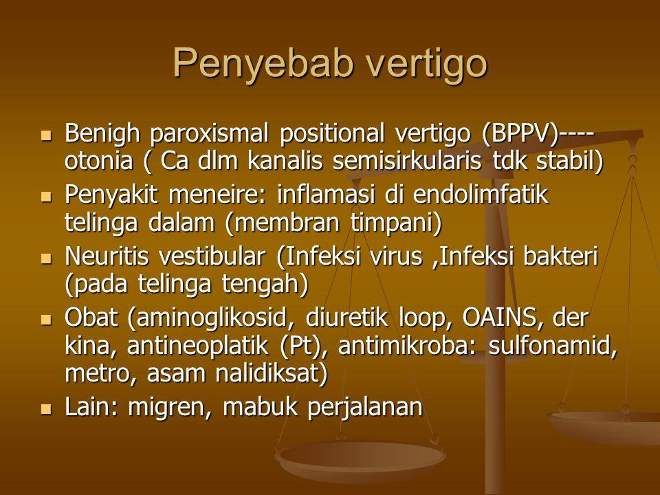 Penyebab vertigo Benigh paroxismal positional vertigo (BPPV)---- otonia ( Ca dlm kanalis semisirkularis tdk stabil)