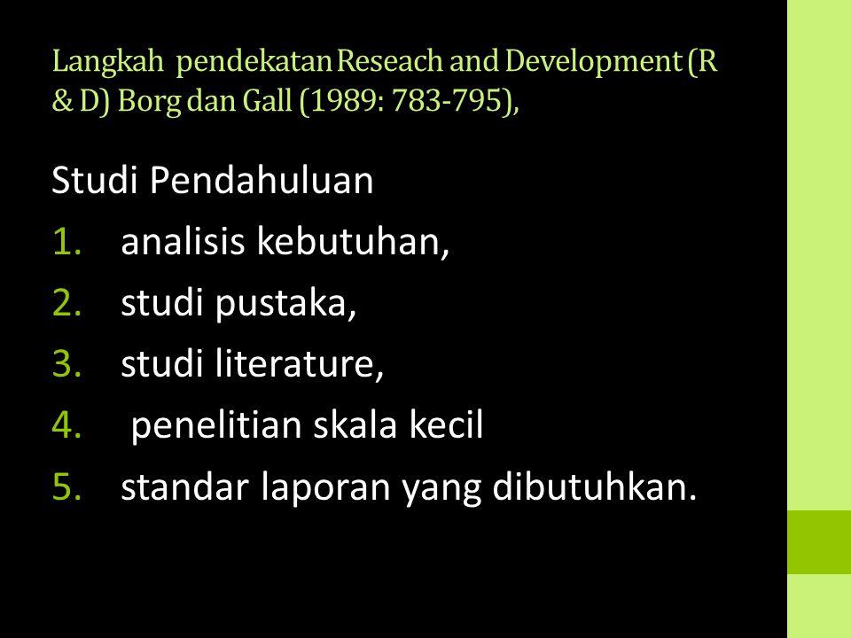 penelitian skala kecil standar laporan yang dibutuhkan.