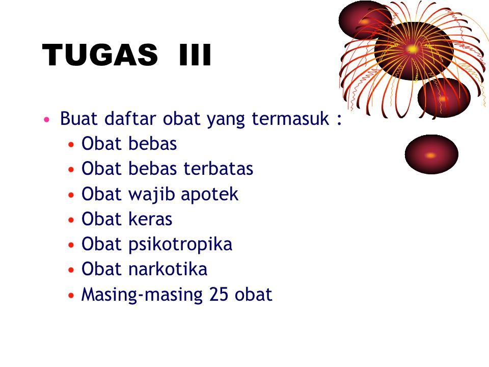 TUGAS III Buat daftar obat yang termasuk : Obat bebas