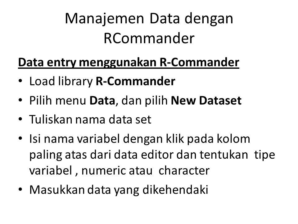 Manajemen Data dengan RCommander