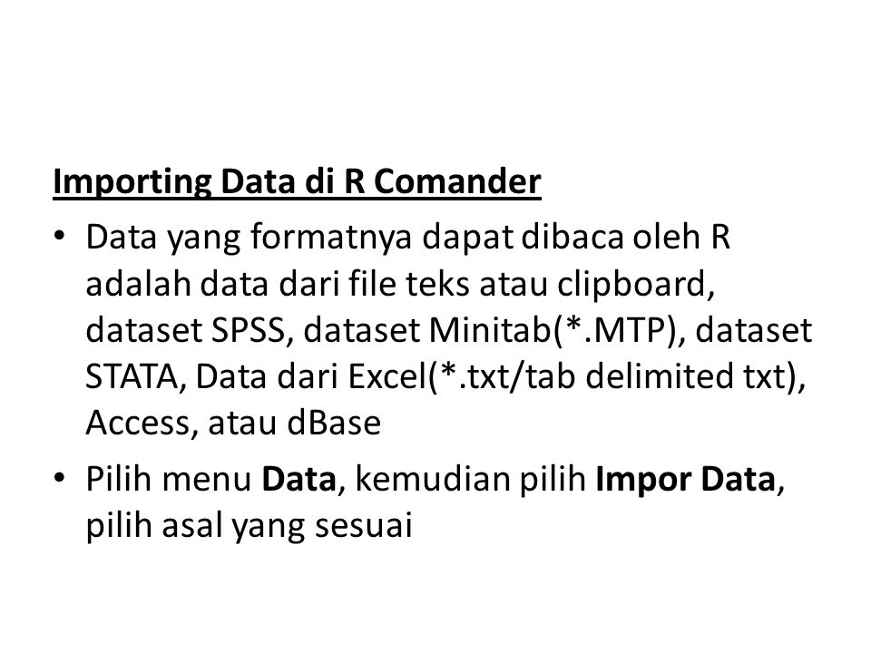 Importing Data di R Comander