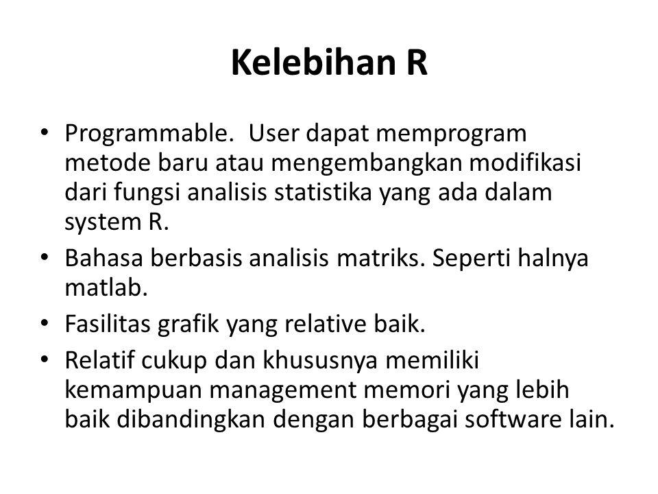Kelebihan R Programmable. User dapat memprogram metode baru atau mengembangkan modifikasi dari fungsi analisis statistika yang ada dalam system R.